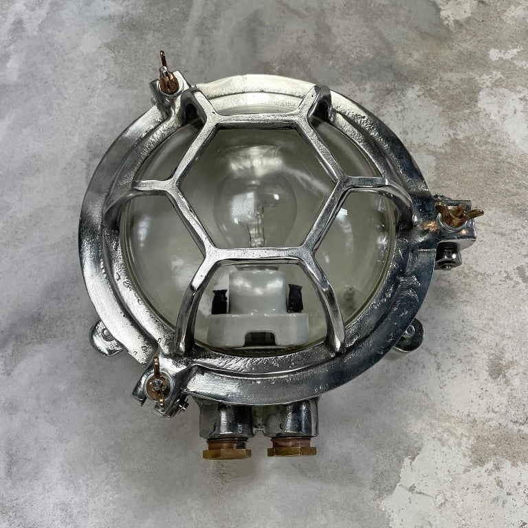 Late Century Japanese Industrial Cast Aluminium and Glass Circular Wall Light For Sale 1