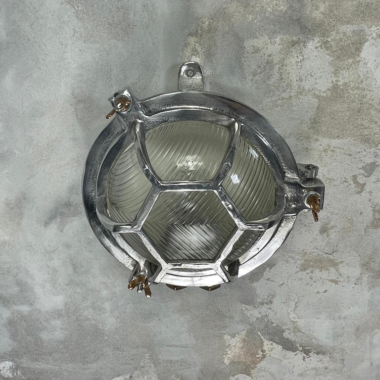 Late Century Japanese Industrial Cast Aluminium & Reed Glass Circular Wall Light For Sale 7