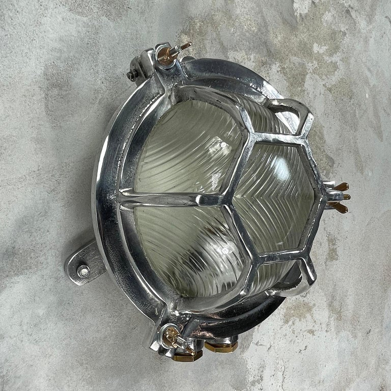 Late Century Japanese Industrial Cast Aluminium & Reed Glass Circular Wall Light For Sale 8