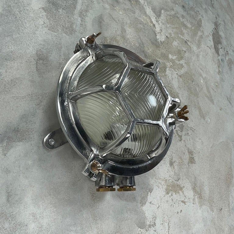 Late Century Japanese Industrial Cast Aluminium & Reed Glass Circular Wall Light For Sale 9
