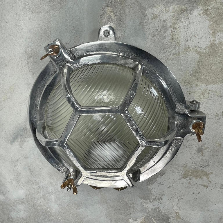 Late Century Japanese Industrial Cast Aluminium & Reed Glass Circular Wall Light For Sale 10