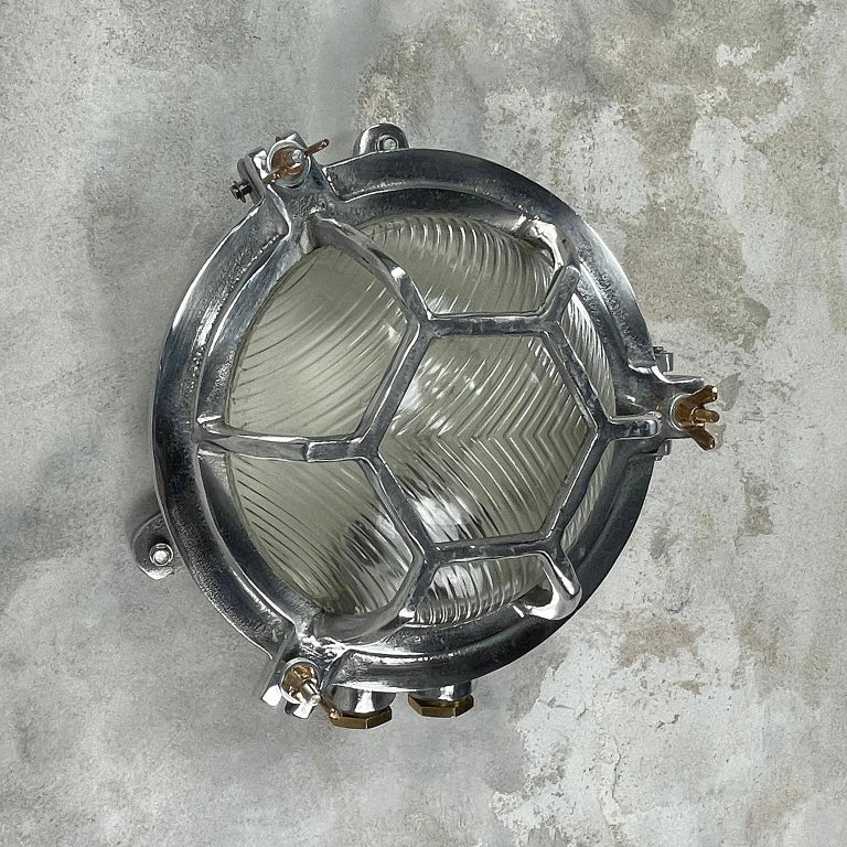 Late Century Japanese Industrial Cast Aluminium & Reed Glass Circular Wall Light For Sale 11