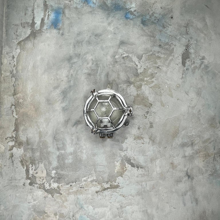 Late Century Japanese Industrial Cast Aluminium & Reed Glass Circular Wall Light For Sale 12