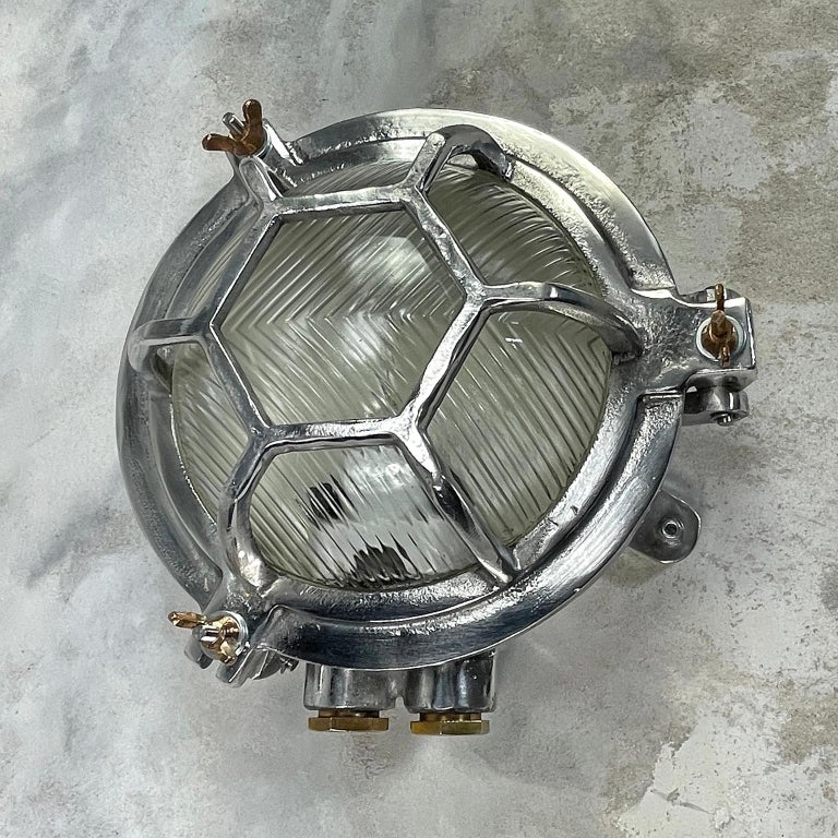 Late Century Japanese Industrial Cast Aluminium & Reed Glass Circular Wall Light For Sale 1