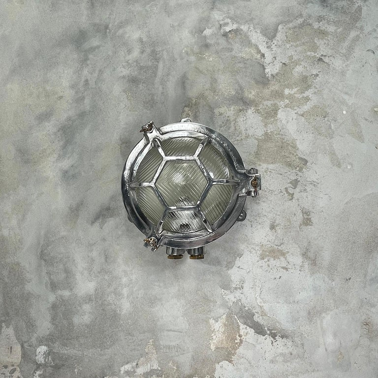 Late Century Japanese Industrial Cast Aluminium & Reed Glass Circular Wall Light For Sale 2