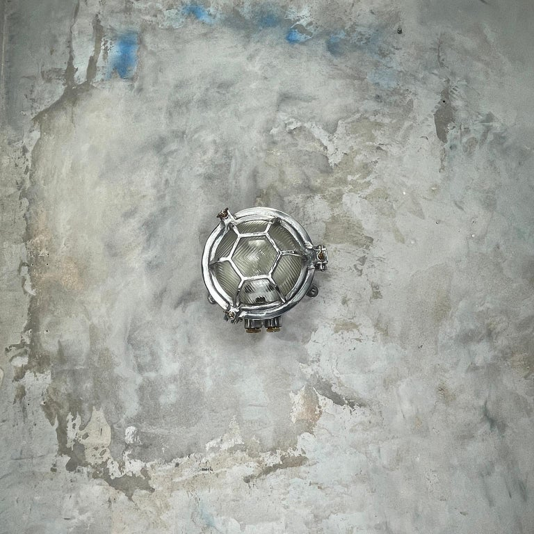 Late Century Japanese Industrial Cast Aluminium & Reed Glass Circular Wall Light For Sale 3