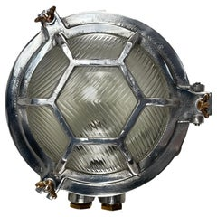 Late Century Japanese Industrial Cast Aluminium & Reed Glass Circular Wall Light