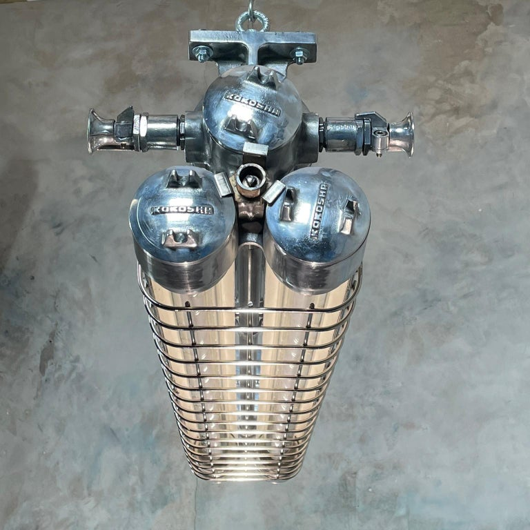 Late Century Japanese Industrial Cast Aluminum Strip Light with Chrome Cage For Sale 6