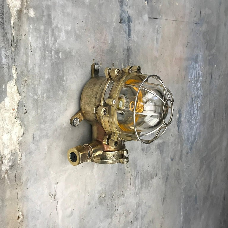 Late Century Japanese Wall Light Cast Brass and Borosilicate Glass & Chrome Cage For Sale 9