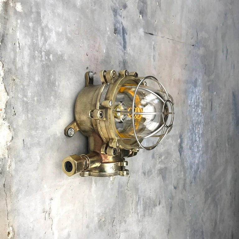 Late Century Japanese Wall Light Cast Brass and Borosilicate Glass & Chrome Cage For Sale 10