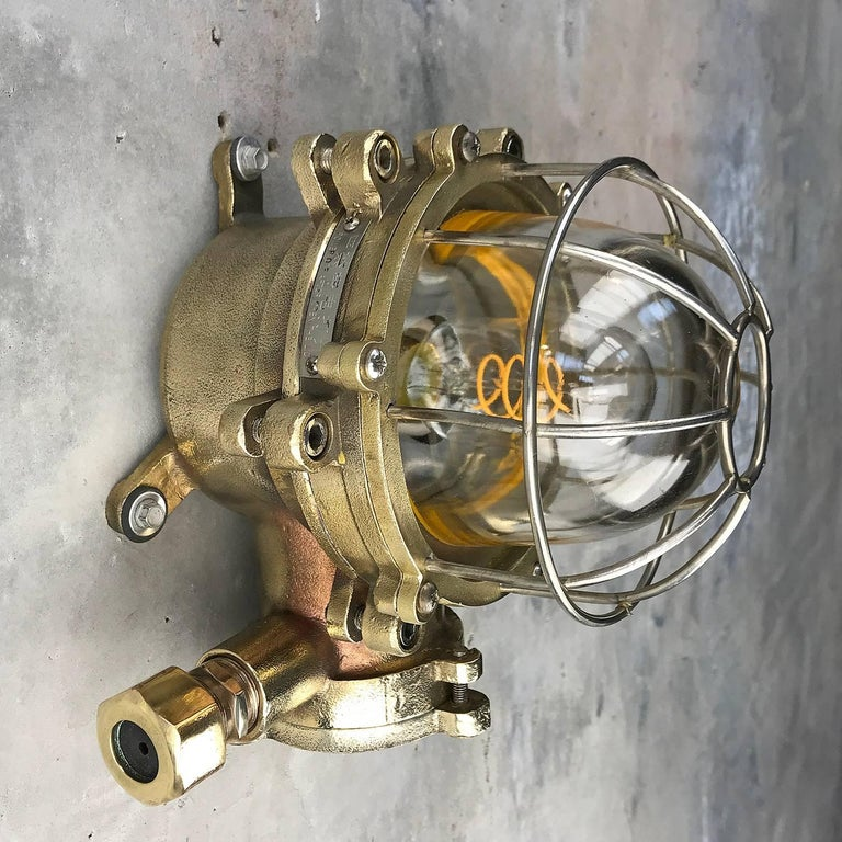 Industrial Late Century Japanese Wall Light Cast Brass and Borosilicate Glass & Chrome Cage For Sale