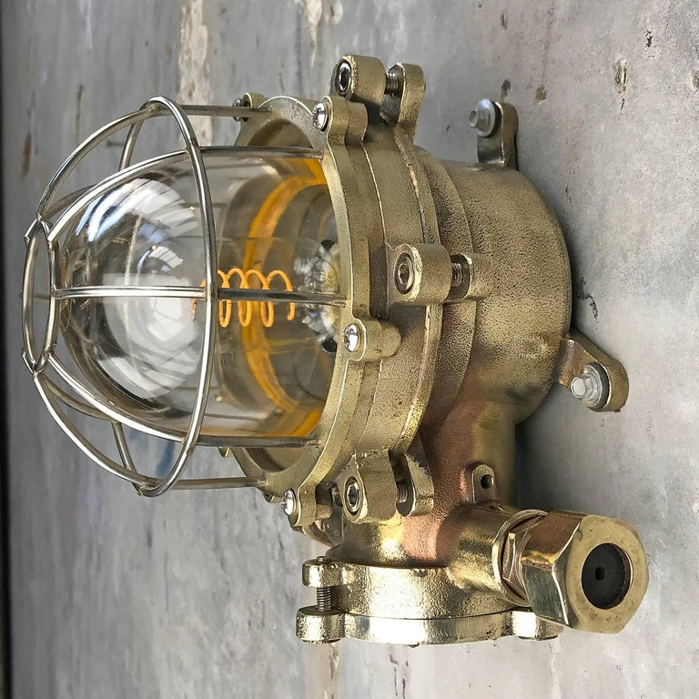 Late Century Japanese Wall Light Cast Brass and Borosilicate Glass & Chrome Cage For Sale 3