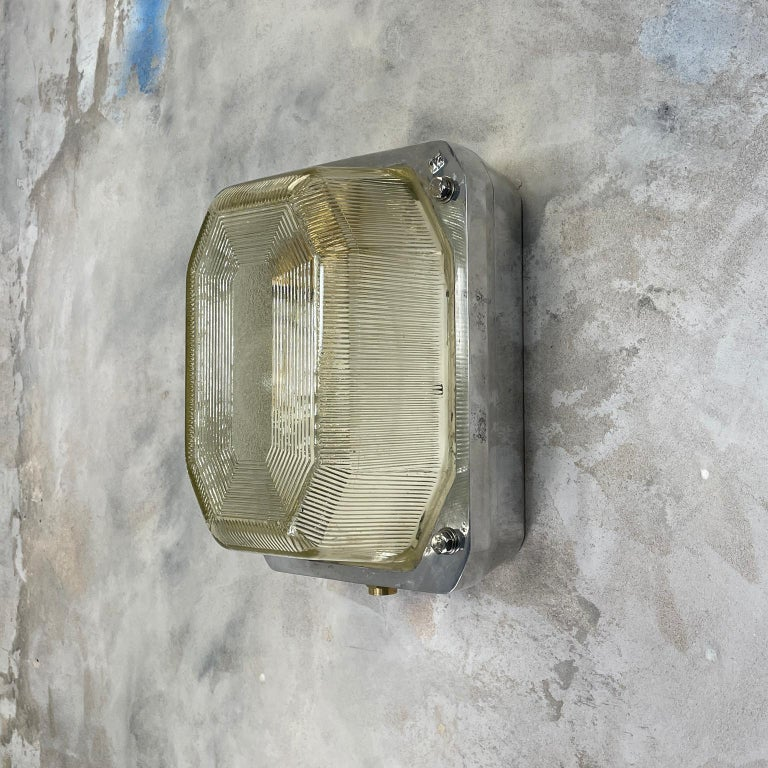Late Century Large British Victor Cast Aluminum Bulkhead Lamps Reeded Glass For Sale 6