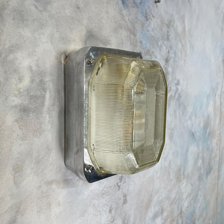 Late Century Large British Victor Cast Aluminum Bulkhead Lamps Reeded Glass For Sale 7