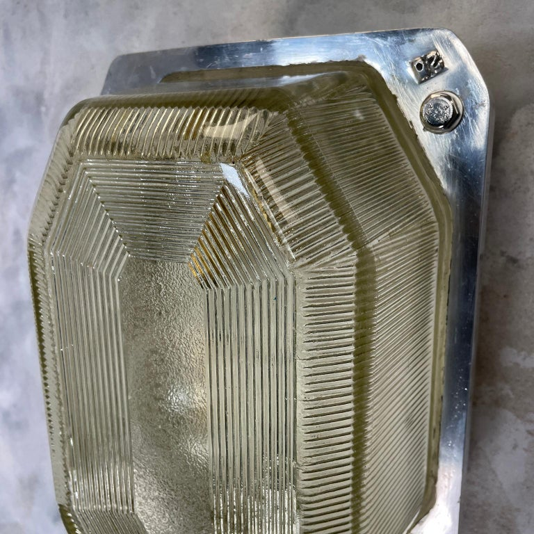 Late Century Large British Victor Cast Aluminum Bulkhead Lamps Reeded Glass For Sale 11