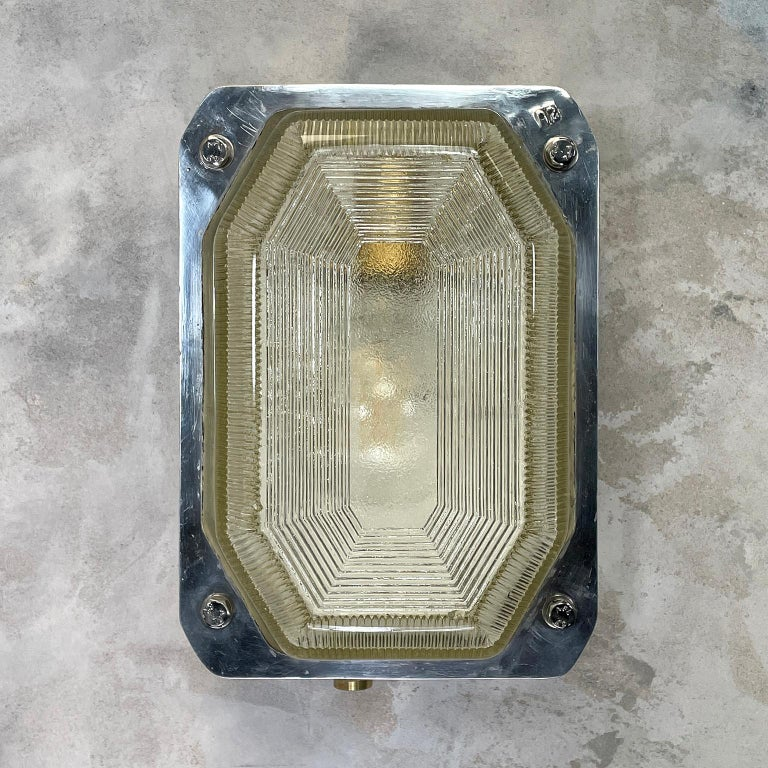 Industrial Late Century Large British Victor Cast Aluminum Bulkhead Lamps Reeded Glass For Sale