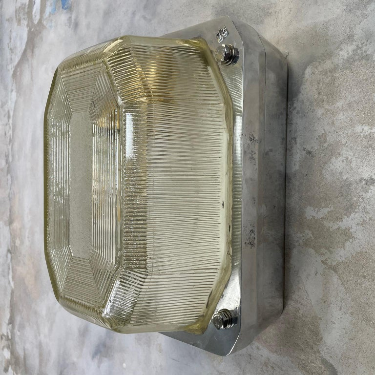 Late 20th Century Late Century Large British Victor Cast Aluminum Bulkhead Lamps Reeded Glass For Sale