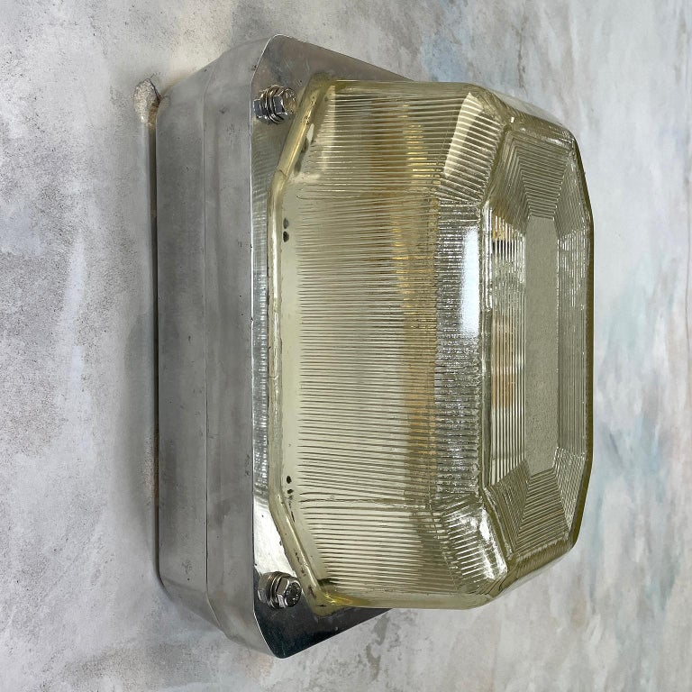 Late Century Large British Victor Cast Aluminum Bulkhead Lamps Reeded Glass For Sale 1