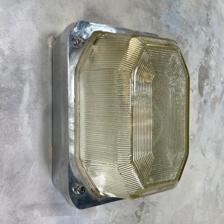 Late Century Large British Victor Cast Aluminum Bulkhead Lamps Reeded Glass For Sale 2