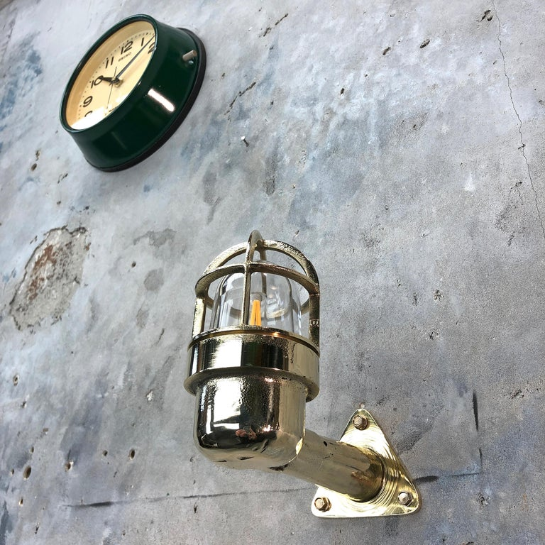 Late Century Small Industrial Brass Wall Light, Glass Dome, Cage, Edison Bulb For Sale 5