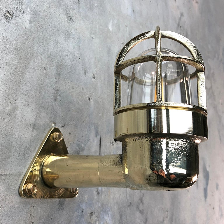 Late Century Small Industrial Brass Wall Light, Glass Dome, Cage, Edison Bulb For Sale 9