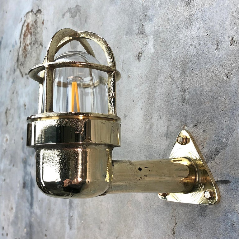 Late Century Small Industrial Brass Wall Light, Glass Dome, Cage, Edison Bulb For Sale 10