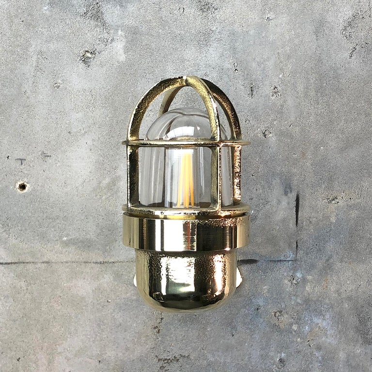Late Century Small Industrial Brass Wall Light, Glass Dome, Cage, Edison Bulb For Sale 12