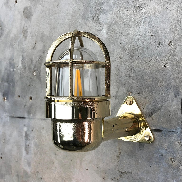 German Late Century Small Industrial Brass Wall Light, Glass Dome, Cage, Edison Bulb For Sale