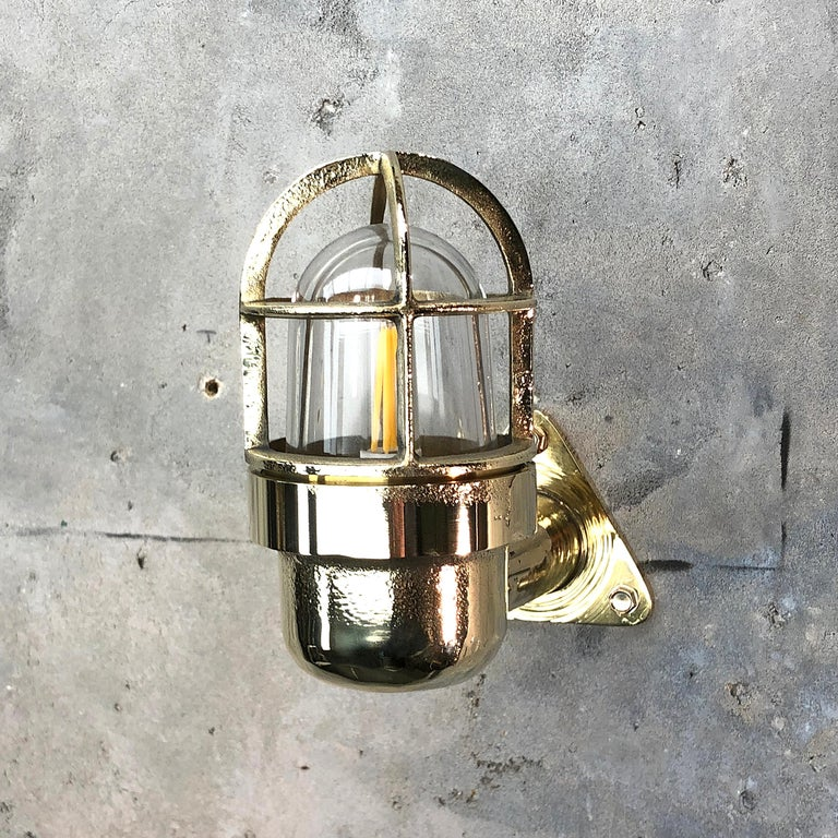 Late Century Small Industrial Brass Wall Light Glass Dome