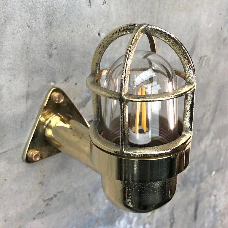 Late Century Small Industrial Brass Wall Light, Glass Dome, Cage, Edison Bulb For Sale 1