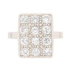 Late Deco Diamond Cluster Ring, circa 1940s