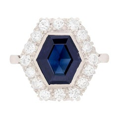 Late Deco Hexagonal Sapphire and Diamond Cluster Ring, circa 1930s