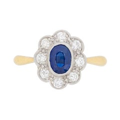 Late Deco Sapphire and Diamond Cluster Ring, circa 1940s