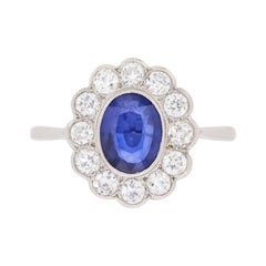 Late Deco Sapphire and Diamond Daisy Cluster Ring, circa 1940s