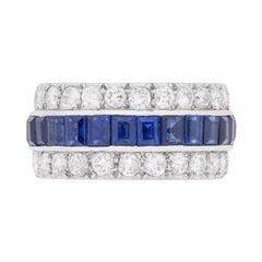 Late Deco Sapphire and Diamond Eternity Ring, circa 1930s