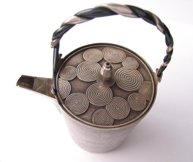 Late Edo- Early Meiji Period Silver Sake Bottle Pair by Nobuyuki Miyajima For Sale 8