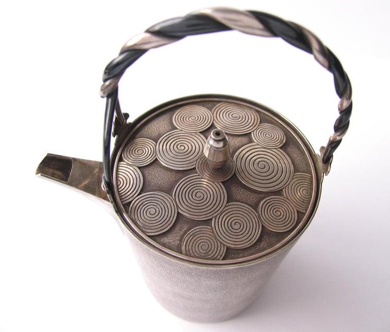 Japonisme Late Edo- Early Meiji Period Silver Sake Bottle Pair by Nobuyuki Miyajima For Sale