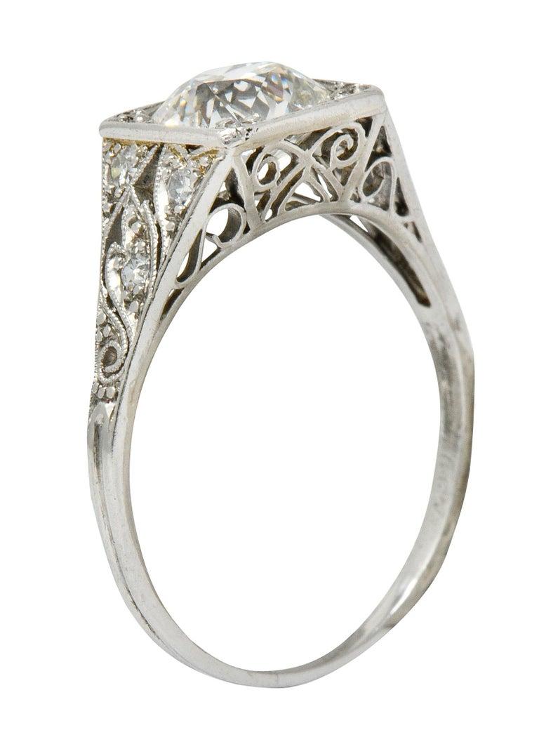 Late Edwardian 1.77 Carat Diamond Platinum Filigree Engagement Ring, circa 1915 For Sale 5