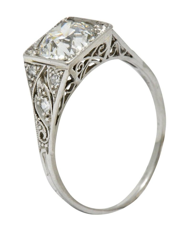 Late Edwardian 1.77 Carat Diamond Platinum Filigree Engagement Ring, circa 1915 For Sale 6