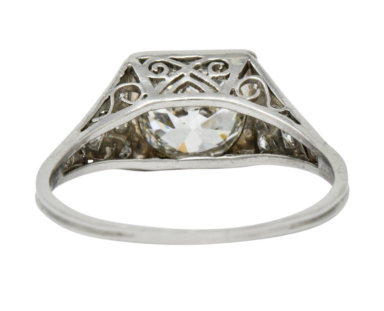 Late Edwardian 1.77 Carat Diamond Platinum Filigree Engagement Ring, circa 1915 In Excellent Condition For Sale In Philadelphia, PA
