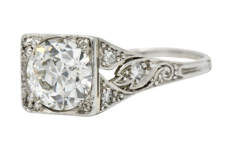 Late Edwardian 1.77 Carat Diamond Platinum Filigree Engagement Ring, circa 1915 For Sale 1