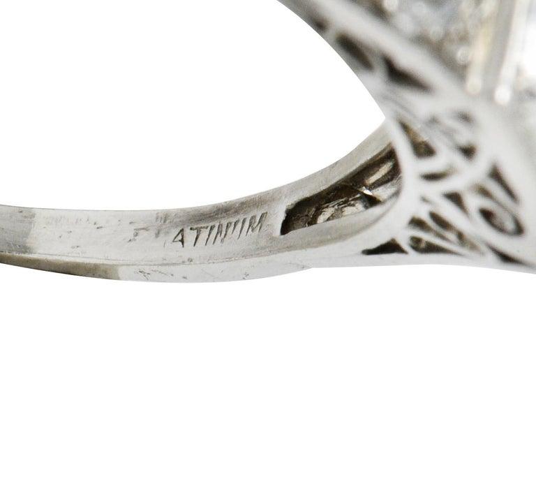 Late Edwardian 1.77 Carat Diamond Platinum Filigree Engagement Ring, circa 1915 For Sale 2