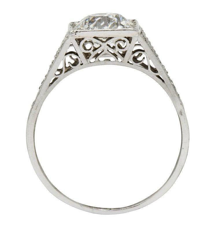 Late Edwardian 1.77 Carat Diamond Platinum Filigree Engagement Ring, circa 1915 For Sale 3