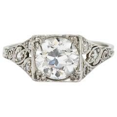 Late Edwardian 1.77 Carat Diamond Platinum Filigree Engagement Ring, circa 1915