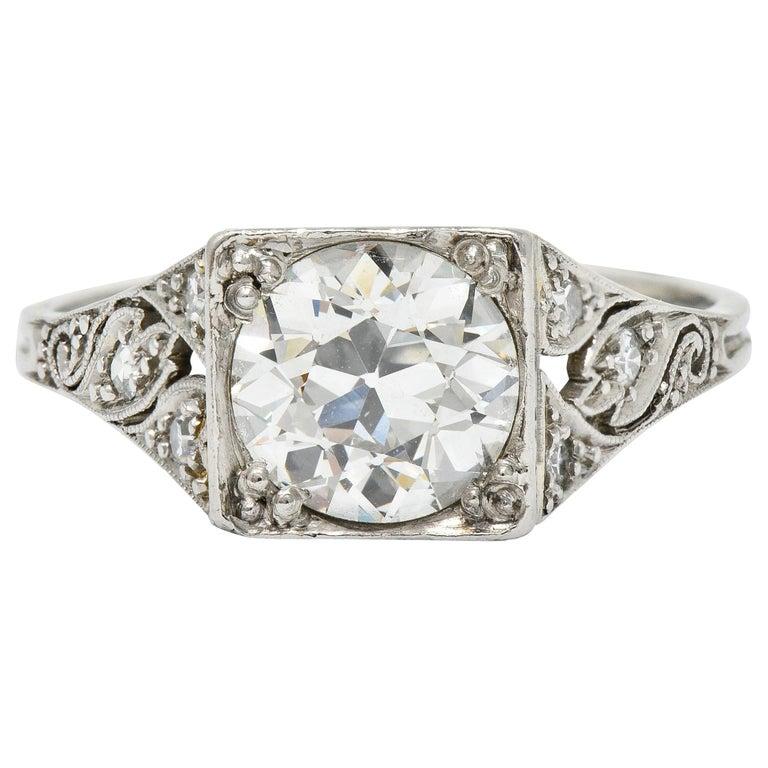 Late Edwardian 1.77 Carat Diamond Platinum Filigree Engagement Ring, circa 1915 For Sale
