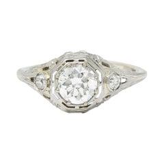 Late Edwardian Diamond 14 Karat White Gold Octagonal Bow Engagement Ring GIA