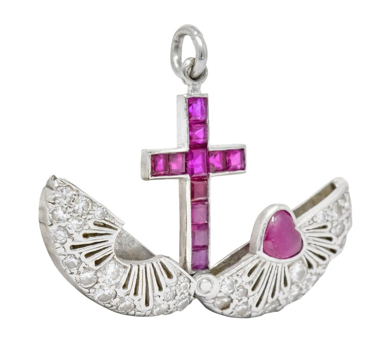 Women's or Men's Late Edwardian Ruby Diamond Platinum Sacred Heart Cross Articulated Charm For Sale