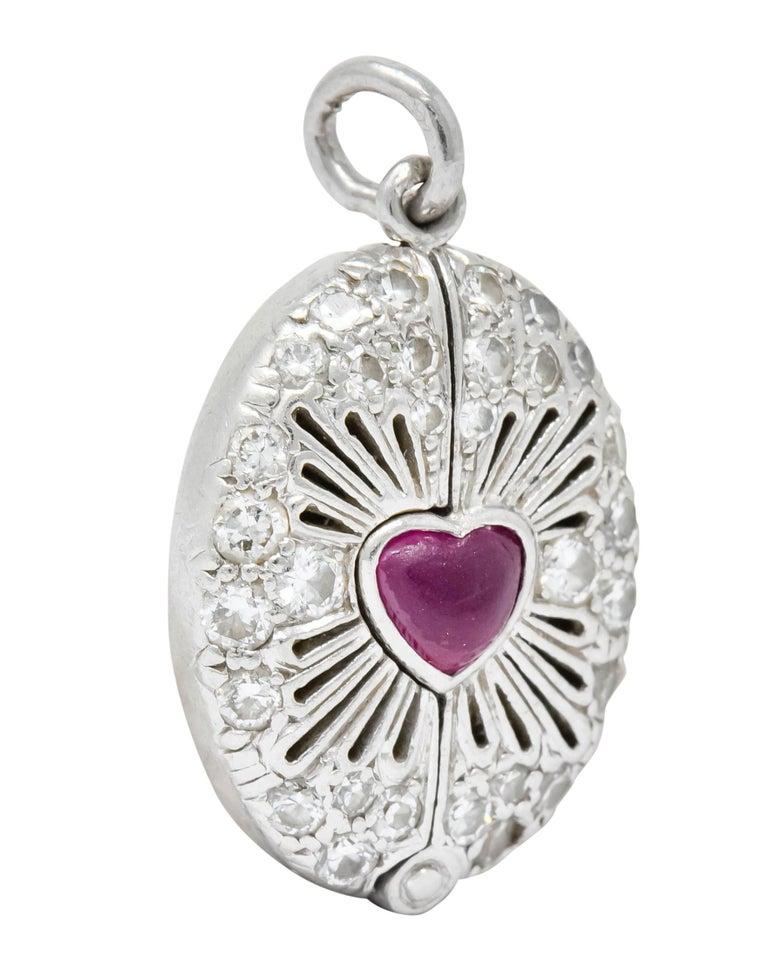 Late Edwardian Ruby Diamond Platinum Sacred Heart Cross Articulated Charm For Sale 1