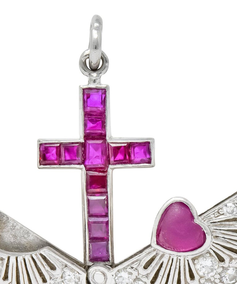 Late Edwardian Ruby Diamond Platinum Sacred Heart Cross Articulated Charm For Sale 2