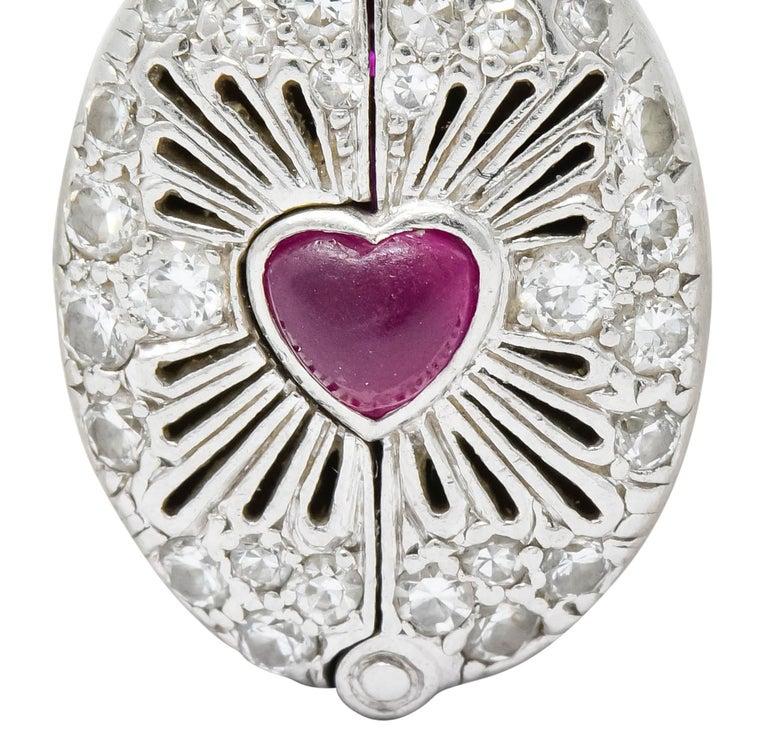 Late Edwardian Ruby Diamond Platinum Sacred Heart Cross Articulated Charm For Sale 3